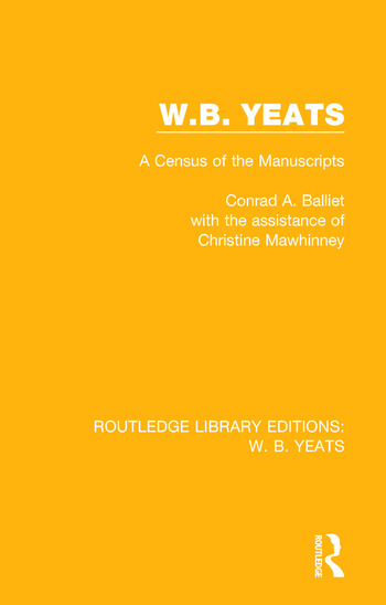 W. B. Yeats A Census of the Manuscripts book cover
