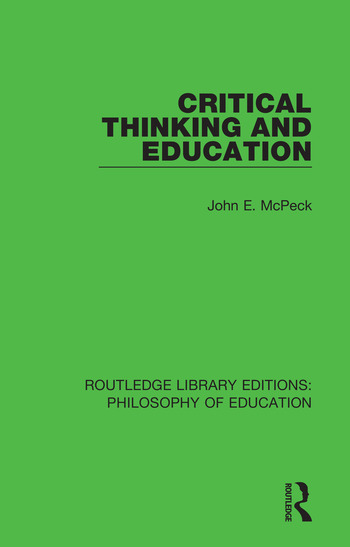 Critical Thinking and Education book cover