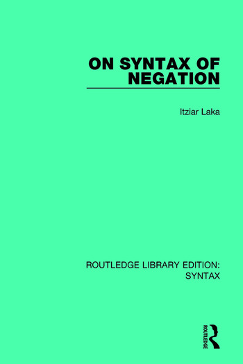 On Syntax of Negation book cover