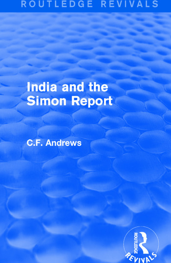 Routledge Revivals: India and the Simon Report (1930) book cover