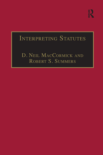 Interpreting Statutes A Comparative Study book cover