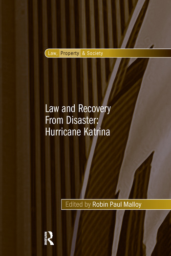 Law and Recovery From Disaster: Hurricane Katrina book cover
