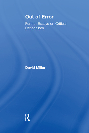 Out of Error Further Essays on Critical Rationalism book cover