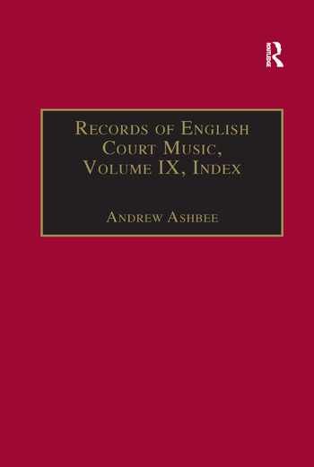 Records of English Court Music Volume IX: Index book cover