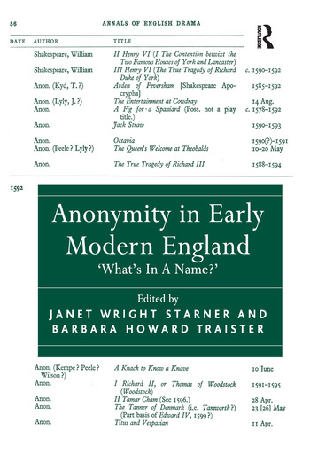 Anonymity in Early Modern England 'What's In A Name?' book cover