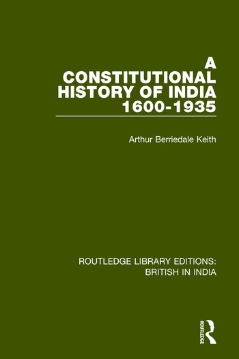 A Constitutional History of India, 1600-1935 book cover