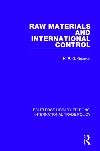 Raw Materials and International Control book cover