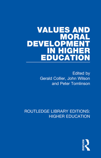 Values and Moral Development in Higher Education book cover