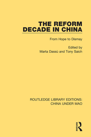 The Reform Decade in China From Hope to Dismay book cover