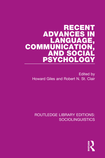 Recent Advances in Language, Communication, and Social Psychology book cover