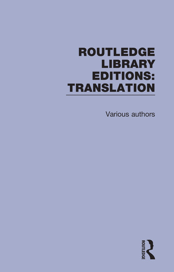 Routledge Library Editions: Translation book cover