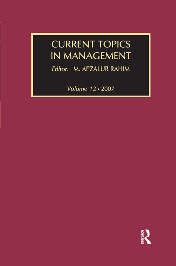 Current Topics in Management Volume 12 book cover
