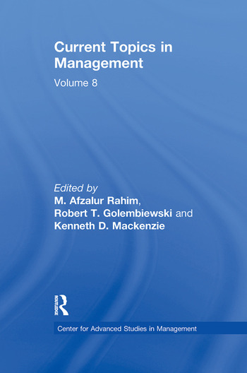 Current Topics in Management Volume 8 book cover