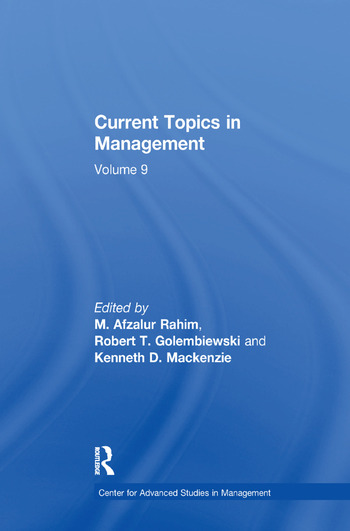 Current Topics in Management Volume 9 book cover