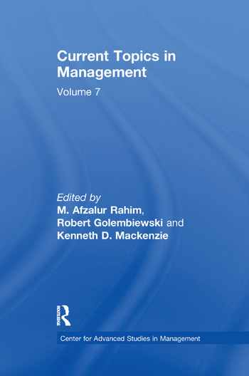 Current Topics in Management Volume 7 book cover