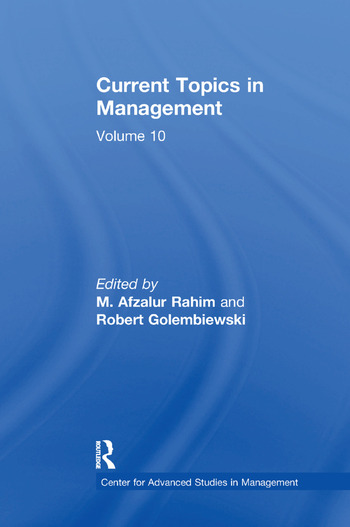 Current Topics in Management Volume 10 book cover