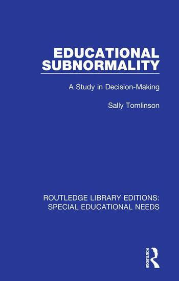 Educational Subnormality A Study in Decision-Making book cover