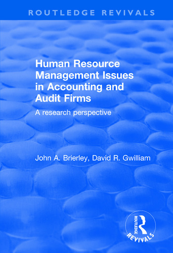 Human Resource Management Issues in Accounting and Auditing Firms A Research Perspective book cover