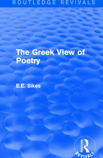 The Greek View of Poetry book cover