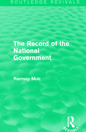 The Record of the National Government book cover