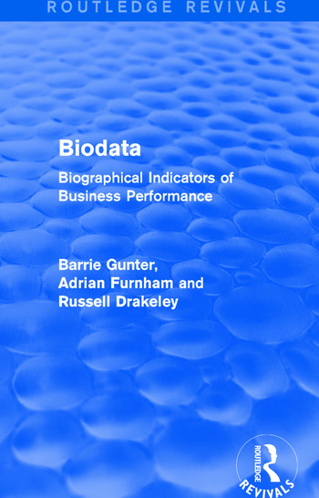 Biodata (Routledge Revivals) Biographical Indicators of Business Performance book cover