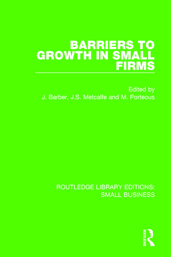 Barriers to Growth in Small Firms book cover