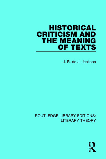 Historical Criticism and the Meaning of Texts book cover