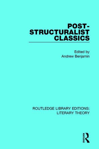 Post-Structuralist Classics book cover