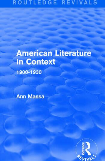 American Literature in Context 1900-1930 book cover