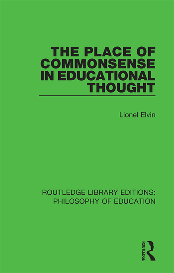 The Place of Commonsense in Educational Thought book cover