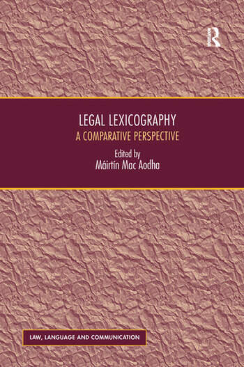 Legal Lexicography A Comparative Perspective book cover