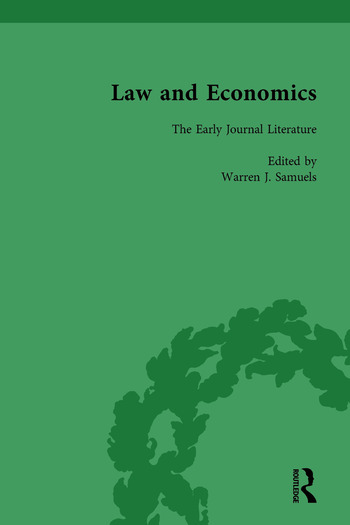 Law and Economics Vol 1 The Early Journal Literature book cover