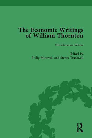 The Economic Writings of William Thornton Vol 1 book cover