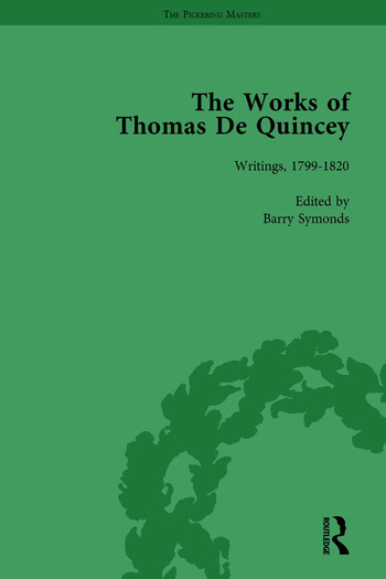 The Works of Thomas De Quincey, Part I Vol 1 book cover