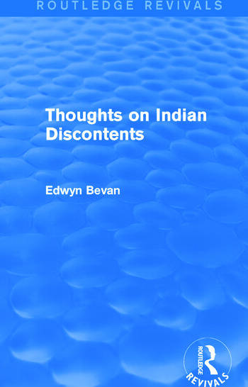 Thoughts on Indian Discontents (Routledge Revivals) book cover