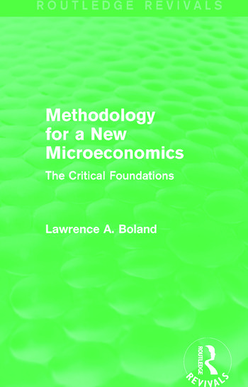 Methodology for a New Microeconomics (Routledge Revivals) The Critical Foundations book cover