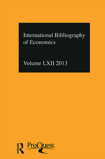 IBSS: Economics: 2013 Vol.62 International Bibliography of the Social Sciences book cover