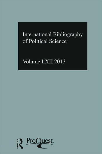 IBSS: Political Science: 2013 Vol.62 International Bibliography of the Social Sciences book cover