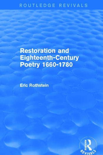 Restoration and Eighteenth-Century Poetry 1660-1780 (Routledge Revivals) book cover