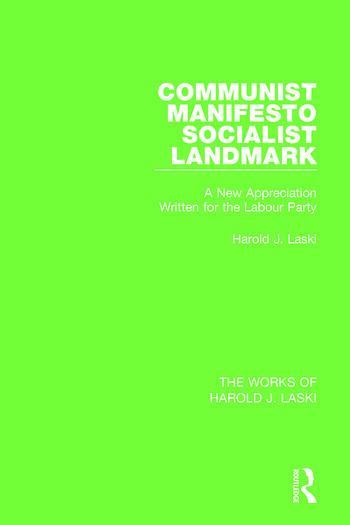 Communist Manifesto (Works of Harold J. Laski) Socialist Landmark book cover