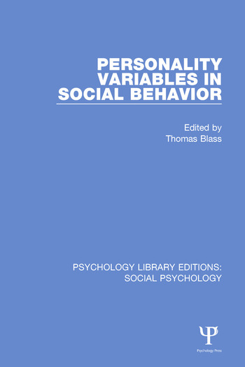 Personality Variables in Social Behavior book cover