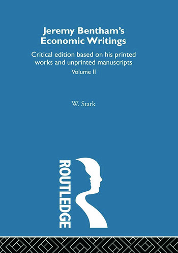 Jeremy Bentham's Economic Writings Volume Two book cover