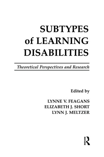 Subtypes of Learning Disabilities Theoretical Perspectives and Research book cover