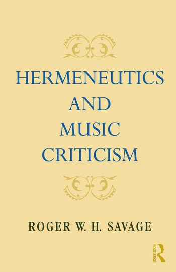 Hermeneutics and Music Criticism book cover