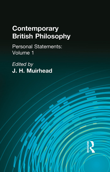 Contemporary British Philosophy Personal Statements First Series book cover