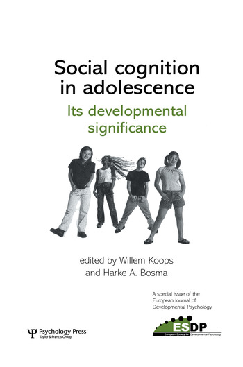 Social Cognition in Adolescence: Its Developmental Significance A Special Issue of the European Journal of Developmental Psychology book cover