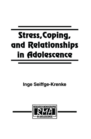 Stress, Coping, and Relationships in Adolescence book cover