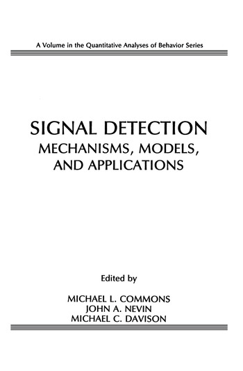 Signal Detection Mechanisms, Models, and Applications book cover