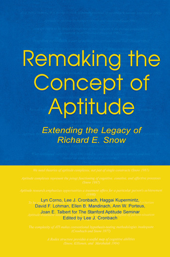 Remaking the Concept of Aptitude Extending the Legacy of Richard E. Snow book cover