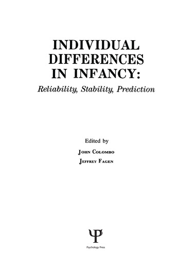 individual Differences in infancy Reliability, Stability, and Prediction book cover